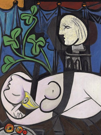 Desnudo, hojas verdes y busto (1932)