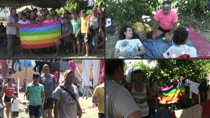 Entre los cientos de centroamericanos que buscan llegar a Estados Unidos en caravana para escapar de la violencia y la pobreza, un grupo de la comunidad LGBTI marcha a la par para huir de la discriminación, un flagelo adicional.