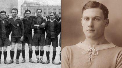 El plantel de Barcelona, que tuvo varios infectados. Y Angus Douglas, futbolista del Chelsea que sobrevivió a la primera guerra mundial, pero no pudo con la gripe española