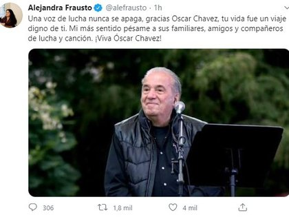 La secretaria de cultura extendió sus condolencias (Foto: Twitter@alefrausto)