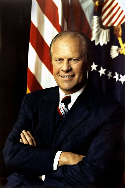 Gerald Ford, Richard Nixon's vice president, took office after the president's resignation over the scandalous Watergate case.  He was granted a pardon on September 8, 1974 that marked his presidency (White House)