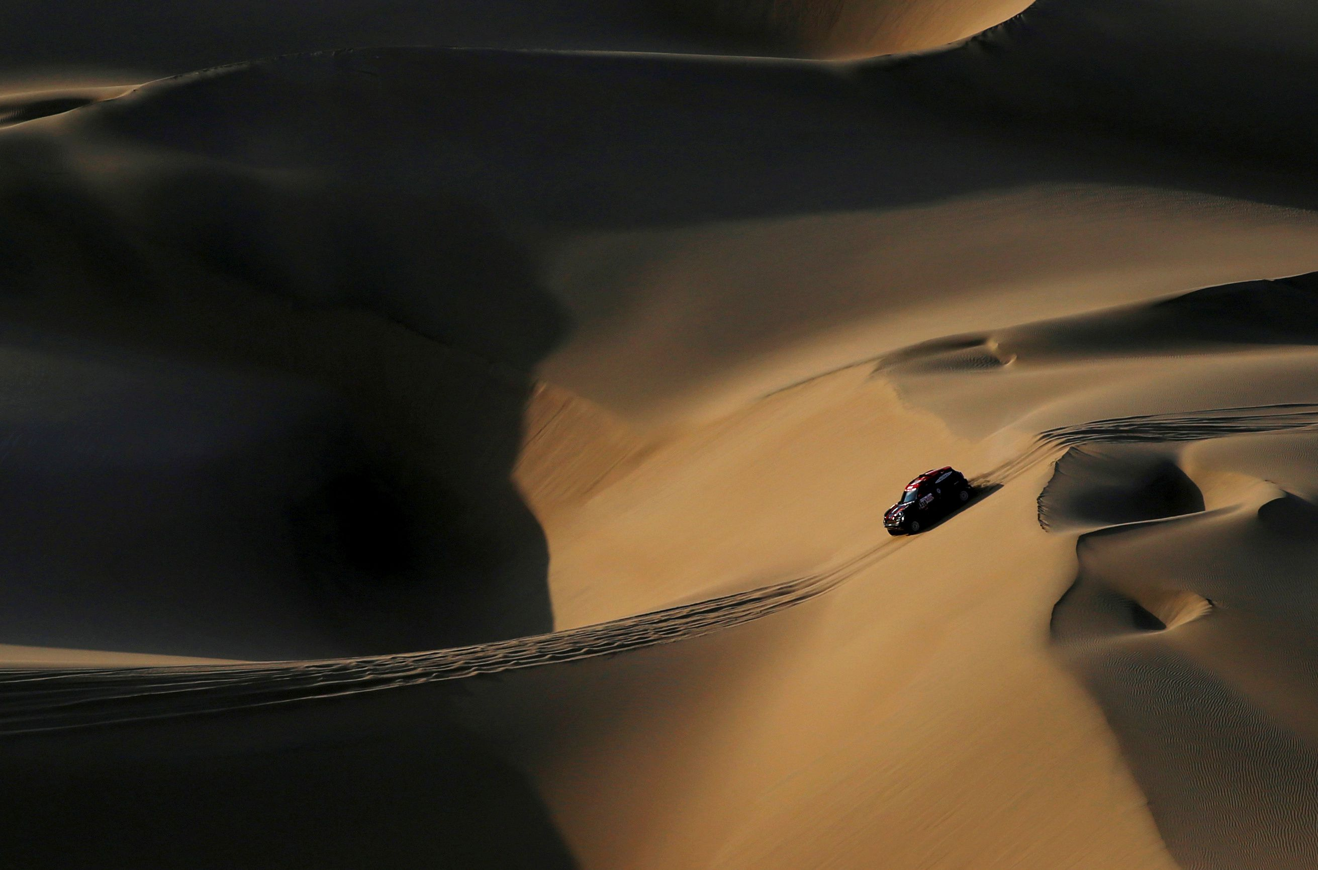"""Dakar Rally - 2019 Peru Dakar Rally - Stage 2 from Pisco to San Juan de Marcona, Peru - January 8, 2019   X-Raid's driver Orlando Terranova and co-driver Bernardo Graue in action during the race. REUTERS/Carlos Jasso/File Photo SEARCH """"GLOBAL POY"""" FOR THIS STORY. SEARCH """"REUTERS POY"""" FOR ALL BEST OF 2019 PACKAGES. TPX IMAGES OF THE DAY."""