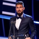 LONDON, ENGLAND - OCTOBER 23: Olivier Giroud of France and Arsenal accepts the Puskas Award during The Best FIFA Football Awards at The London Palladium on October 23, 2017 in London, England. (Photo by Alexander Hassenstein - FIFA/FIFA via Getty Images)