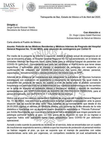 La carta de médicos residentes y de pregrado del Hospital General 72 del IMSS en Tlalnepantla (Foto: Twitter)