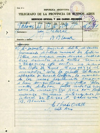 El discurso de Illia fue registrado por la Policía de la Provincia de Buenos Aires