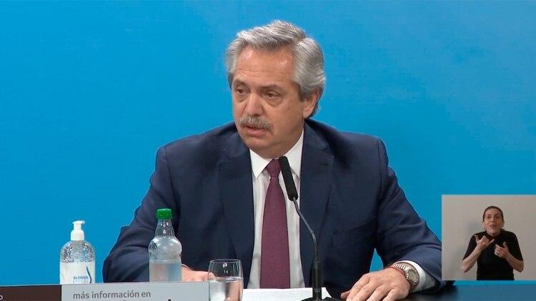 Fernández en la conferencia de prensa de esta tarde