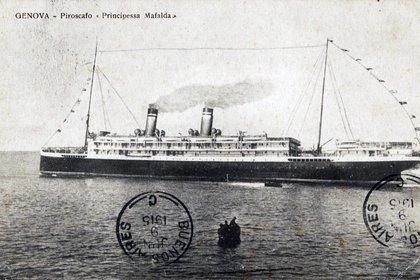 Postal del Principessa Mafalda (Archivo marina argentina)