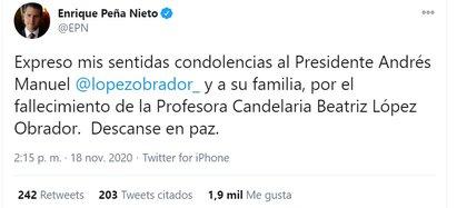 El mensaje con el que Peña Nieto volvió a Twitter