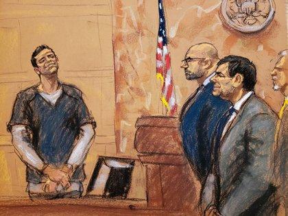 Retrato de Vicente Zambada declarando en el juicio de 'El Chapo' guzmán (Foto: REUTERS / Jane Rosenberg)