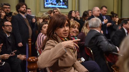 La ex presidente Cristina Kirchner, ayer, durante el debate en comisión sobre el proyecto para legalizar el aborto (Guille Llamos)