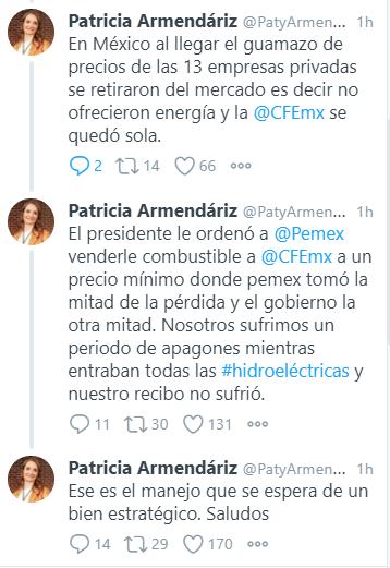 Patricia Armendáriz explicó cómo actuó México frente a la crisis energética de Texas. (Imagen: Twitter/ @PatyArmendariz)