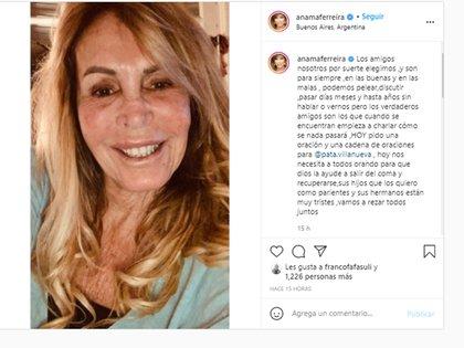 El posteo de Anamá pidiendo por la salud de Pata