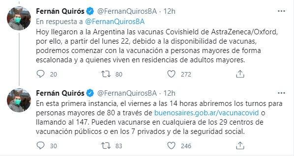 Fernán Quirós se refirió al avance del plan de vacunación (Captura Twitter)