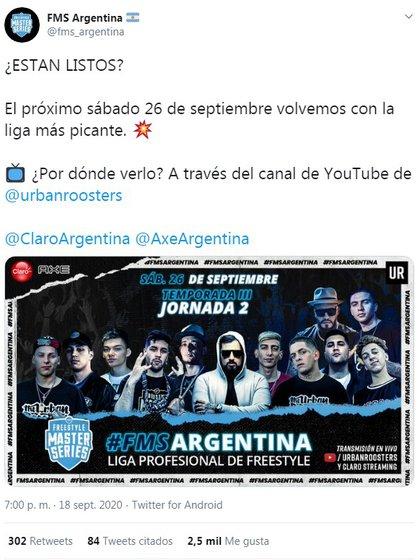 La Jornada 2 de FMS Argentina 2020 se realizará el sábado 26 de septiembre desde las 14.45 hs.