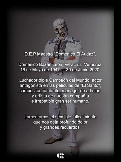La agencia CHR Records lamenó la muerte del luchador mexicano (Foto: Facebook @DomenicoElAudaz)