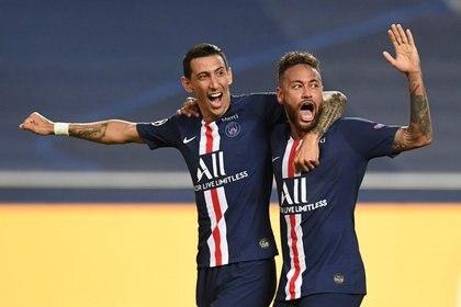 Neymar y Di María fueron las figuras de la goleada 3 a 0 ante el RB Leipzig (Reuters)