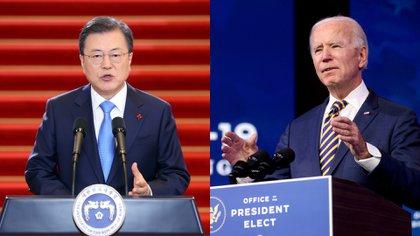 Moon Jae-in, presidente de Corea del Sur, y Joe Biden, presidente de EEUU.