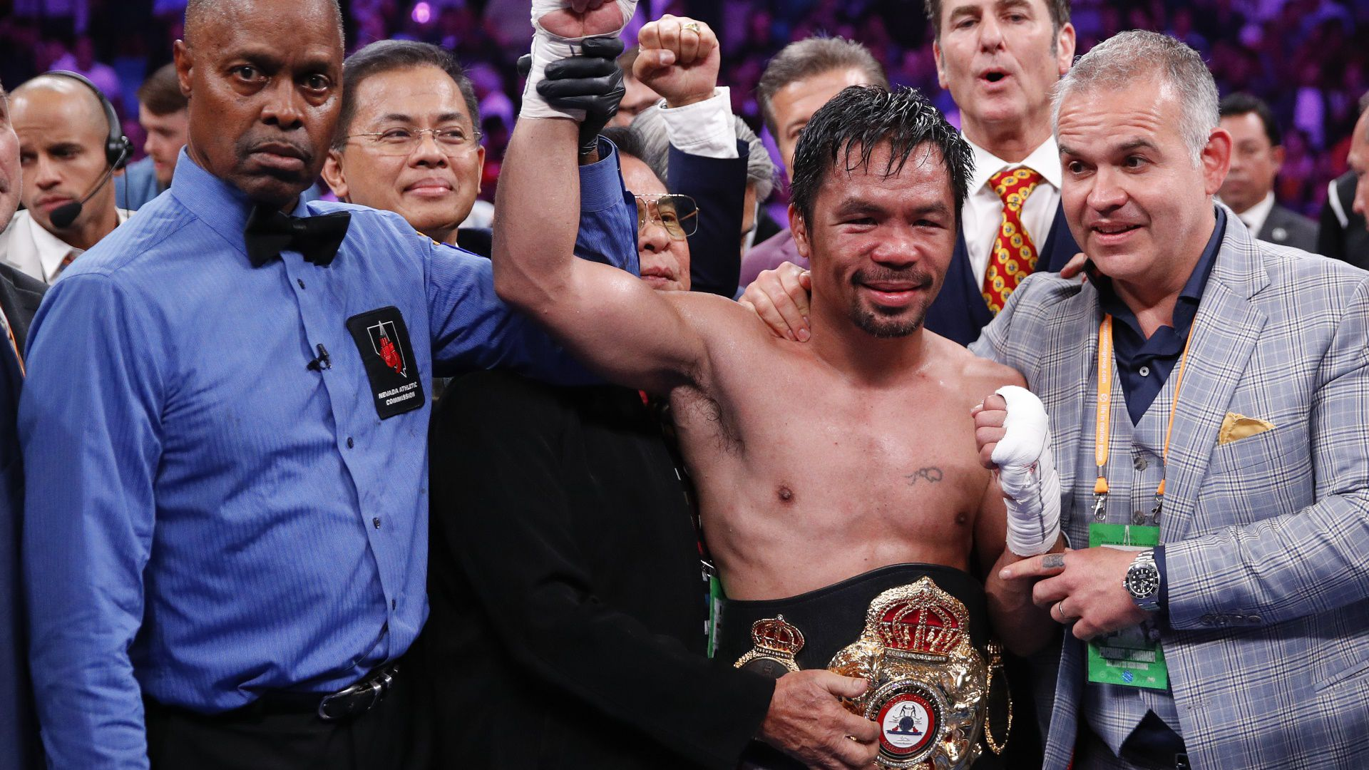 Con este imponente triunfo, Pacquiao logró unificar la corona peso wélter de la Asociación Mundial de Boxeo (Foto: AP)