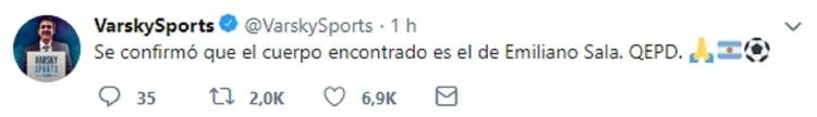 El tuit de Juan Pablo Varsky