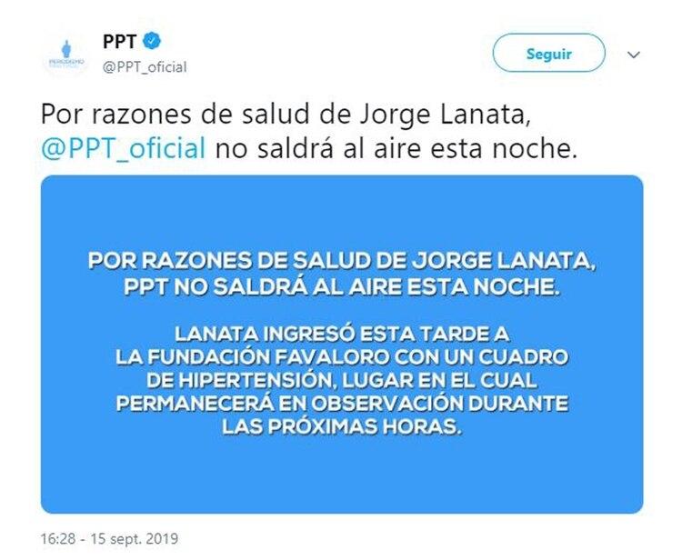 """El mensaje de """"PPT"""" sobre la salud de Jorge Lanata (Foto: Twitter)"""