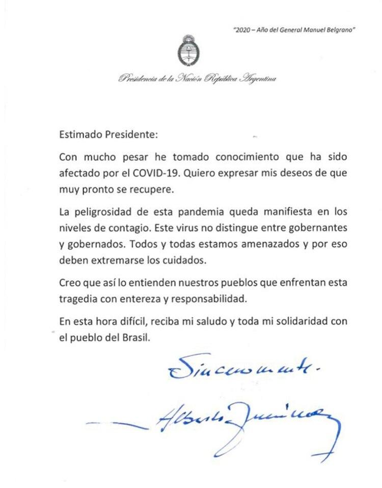 La carta que firmó de puño y letra el presidente Fernández