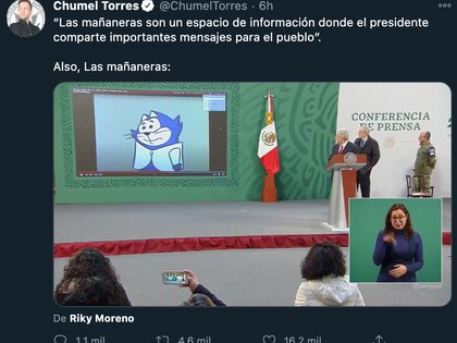 El comediante político ironizó que el presidente de México pusiera caricaturas durante su conferencia de prensa