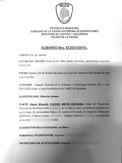 El sumario judicial sobre lo ocurrido en la librería El Ateneo (Foto: Infobae)