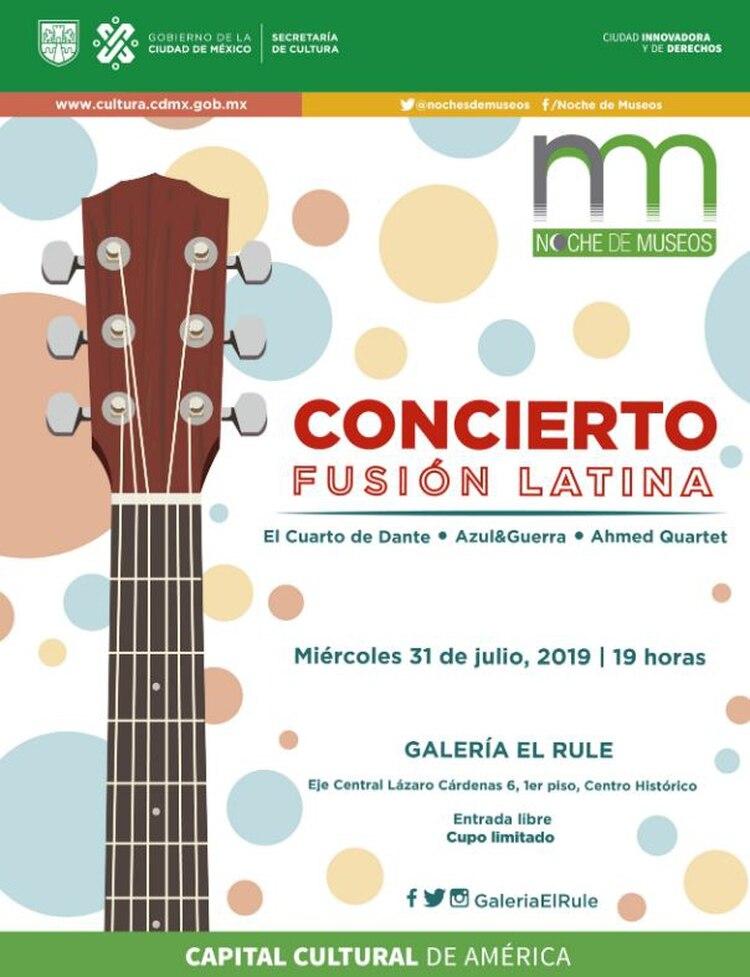 La Galería el Rule, ubicada en Eje central Lázaro Cárdenas 6, 1er piso, albergará el Concierto Fusión Latina. (Foto: Twitter)