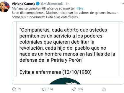 El tuit de Viviana Canosa