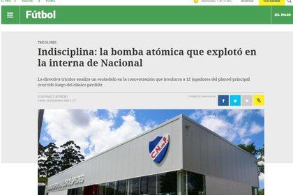 La captura del diario Ovación de Uruguay por el escándalo con Nacional