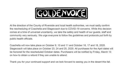 El comunicado oficial de cancelación de Coachella y Stagecoatch