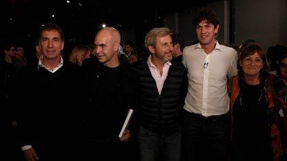Lousteau en la feria del Libro junto a Santilli, Rodríguez Larreta y Frigerio