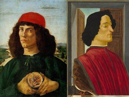"""""""Retrato de un joven con la medalla de Cosimo de' Medici"""", que luce en la Galería Uffizi, y """"Giuliano de' Medici"""", en la Galería Nacional de Washington DC, ambos de Botticelli"""