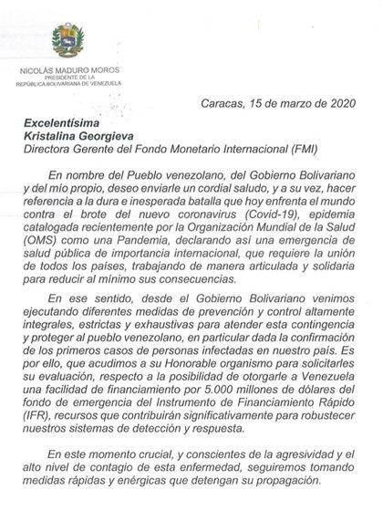 Comunicado de Maduro al FMI