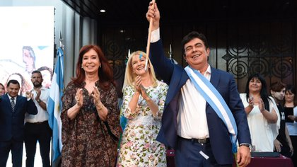 Cristina Kirchner, Verónica Magario y Fernando Espinoza