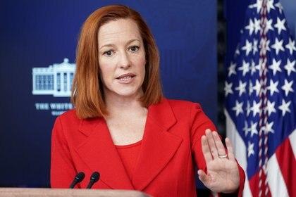 La vocera de la Casa Blanca dijo que Bide nunca asumió un compromiso para compartir vacunas contra COVID-19. REUTERS/Kevin Lamarque