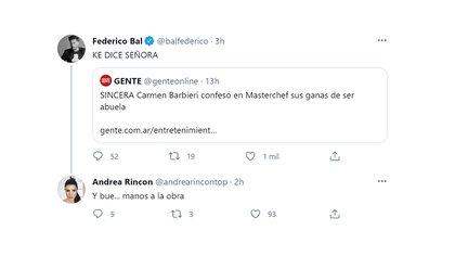 El guiño de Andrea Rincón a Fede Bal al escuchar que Carmen Barbieri quiere ser abuela