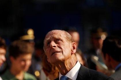 El príncipe Felipe, duque de Edimburgo, el lugar del ataque al World Trade Center el 11 de septiembre de 2001 durante su visita a Nueva York el 6 de julio de 2010