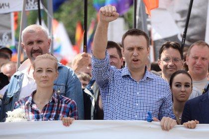 El opositor ruso Alexei Navalni durante una manifestación en Moscú, antes de ser envenenado