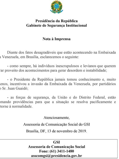 El comunicado del gobierno de Jair Bolsonaro