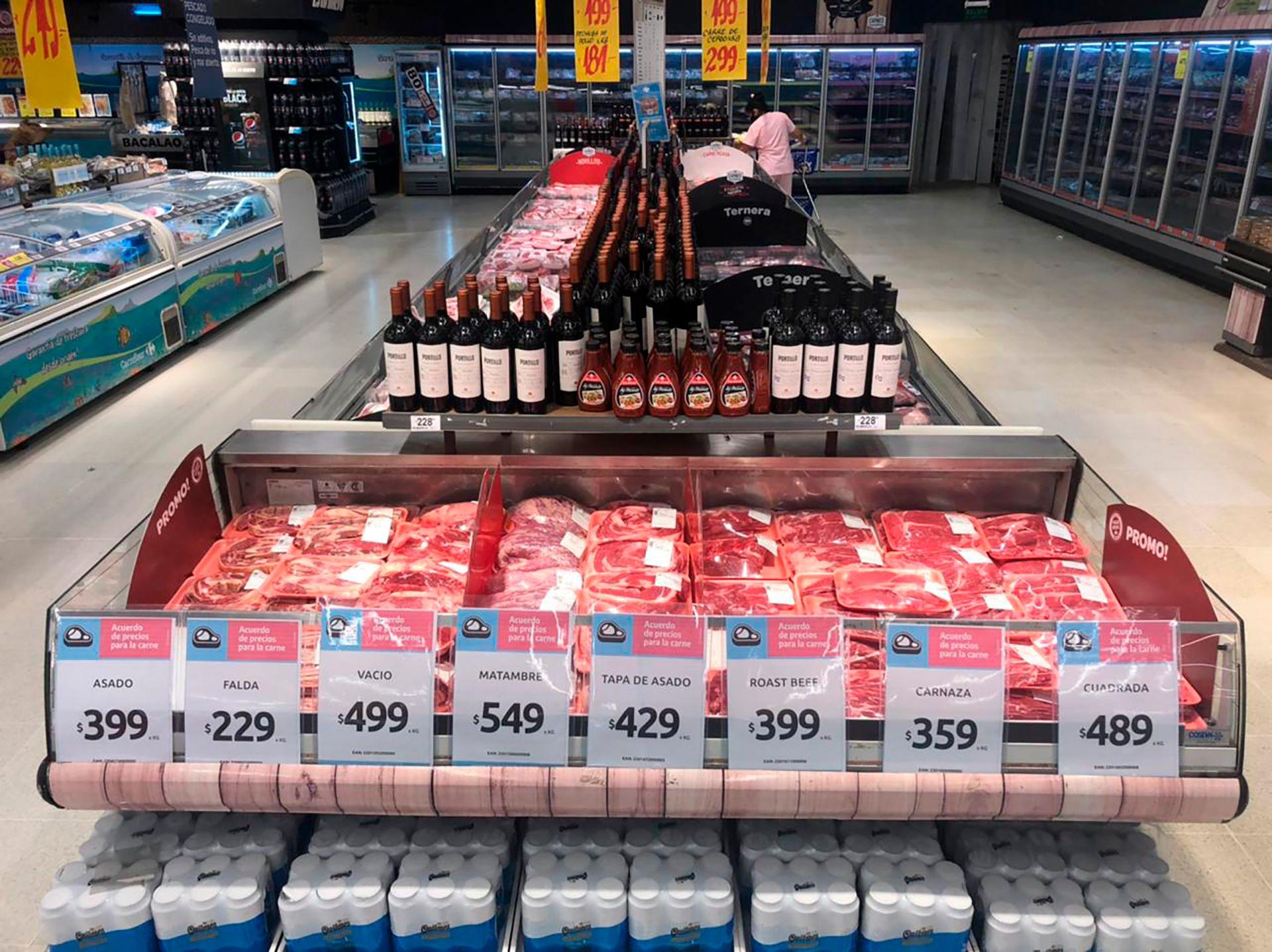 Carne precios populares supermercados frigoríficos