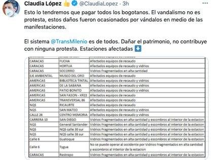 El tweet en el que Claudia López critica a quienes afectaron Transmilenio. Pantallazo Twitter @Claudia López
