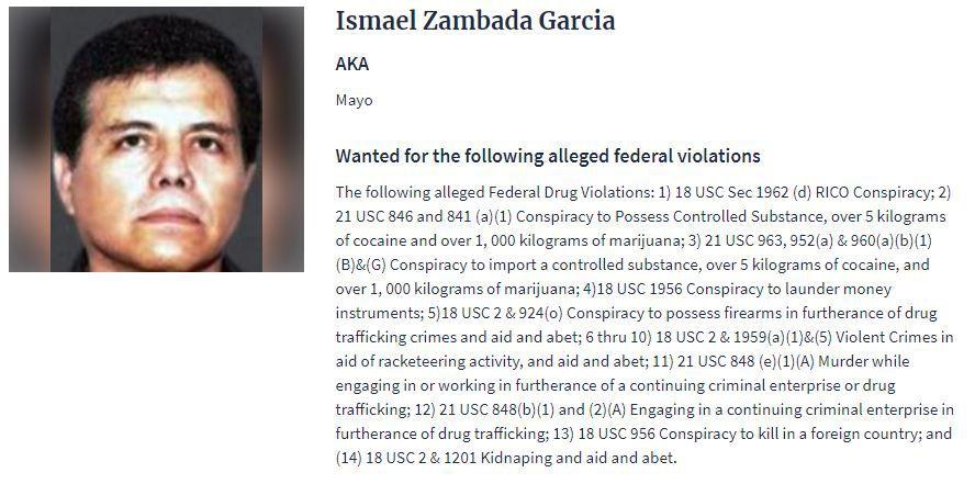 "Una ficha de búsqueda de la DEA sobre el ""Mayo"" Zambada, líder del Cártel de Sinaloa (Foto: DEA)"