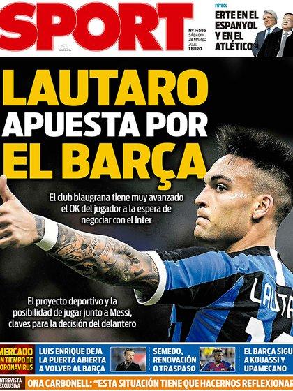 La portada de Sport sobre Lautaro Martínez