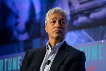 Jamie Dimon, chairman and chief executive officer of JPMorgan Chase & Co., listens during the CEO Initiative event in New York, U.S., on Monday, Sept. 25, 2017. The CEO Initiative brings together the CEOs of some of the world's most enlightened companies to exchange best practices and leadership techniques, develop actionable solutions, and track tangible progress.