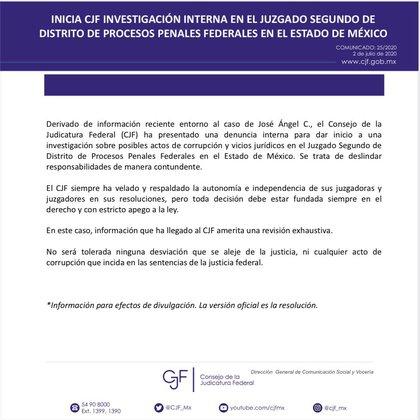El CJF iniciará una investigación en el Juzgado Segundo de Distrito de Procesos Penales Federales en el Estado de México por posibles actos de corrupción (Foto: Twitter/CJF_Mx)