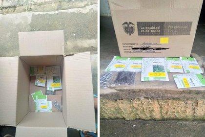 Fotos de las 'ayudas' entregadas por el gobierno a los campesinos de la Sierra Nevada de Santa Marta. Foto: Twitter Lerber Dimas.