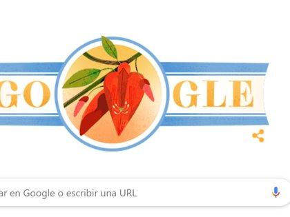 La flor del ceibo y los colores de la bandera en el doodle de Google dedicado a la Declaración de la Independencia en Argentina.