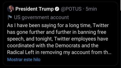 Mensajes de Trump desde la cuenta cuenta oficial de la presidencia @POTUS de Twitter