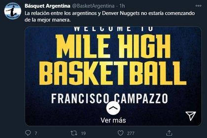 (Twitter: @BasketArgentina)